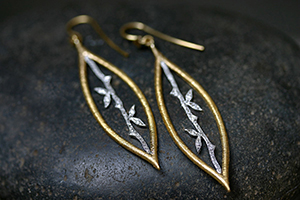 22K Recycled Gold and Platinum Etched Marquise Bamboo Earrings with Ethically Sourced Diamonds, mixed metal, yellow, leaf, leaves