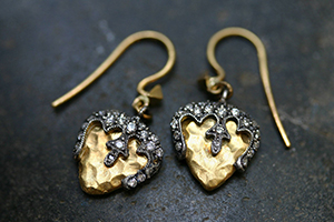 22K Recycled Gold and Blackened Platinum Hammered Acorn Earrings with Ethically Sourced Diamonds, mixed metal, yellow