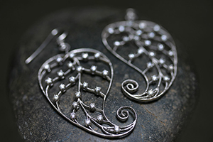 Recycled Platinum Paisley Leaf Earring with Ethically Sourced Diamonds, leaves, nature, skeleton