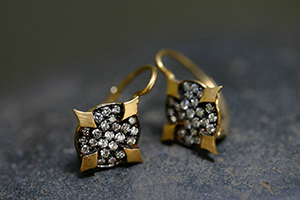 22K Recycled Gold Blackened Oval Thorn Earrings with Ethically Sourced Diamonds, yellow