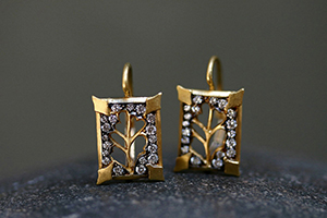 22K Recycled Gold Blackened Open Rectangle Branch Thorn Earrings with Ethically Sourced Diamonds, yellow, cut out, twig