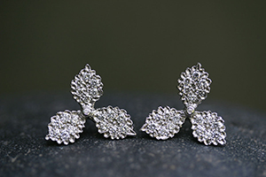 Recycled Platinum Hydrangea Posts with Ethically Sourced Diamonds, stud, flower, petal, post, studs