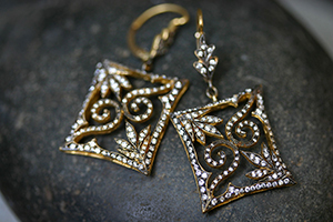 22K Recycled Blackened Gold Square Swirl Lace Earrings with Ethically Sourced Diamonds, petal, yellow, cut out, leaf, leaves
