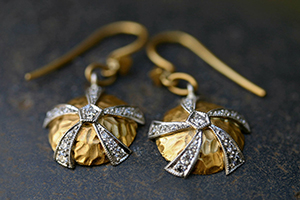 22K Recycled Gold and Platinum Japanese Ball Earrings with Ethically Sourced Diamonds, mixed metal, hammered, yellow