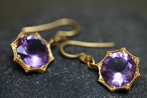 22K Recycled Gold Engraved Bezel Earrings with Ethically Sourced Amethysts, yellow, hex, colored stone, colored
