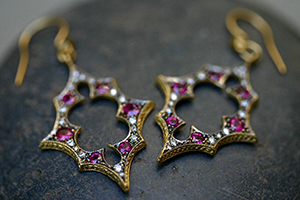 22K Recycled Gold Scimitar Thorn Earrings with Ethically Sourced Rubies and Diamonds, yellow, ruby, colored stone, colored