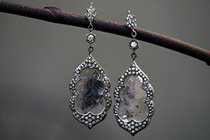 Recycled Platinum Arabesque Earrings with Ethically Sourced Diamond Slices and White Diamonds, leaf, leaves, rough stone, raw stone, blackened