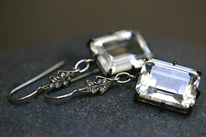 Recycled Platinum Leaf Top Earrings with Ethically Sourced White Topaz and Diamonds, leaves, colored stone, colored