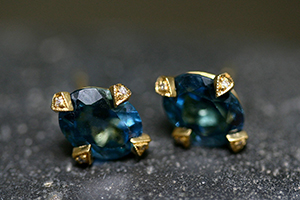 22K Recycled Gold Antique Prong Posts with Ethically Sourced Blue Topaz and Diamonds, yellow, colored stone, stud, colored