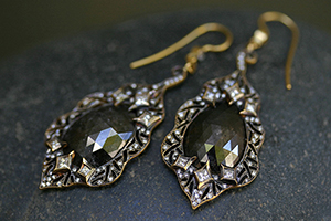 22K Recycled Gold Cut Out Leaf Earrings with Ethically Sourced Rustic and White Diamonds, rough, yellow, scalloped
