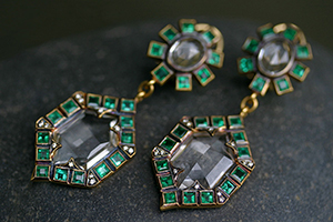 22K Recycled Gold Double Frame Earrings with Ethically Sourced White Topaz, Emeralds and Diamonds, yellow, colored stone, thorn, colored