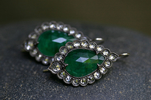 Recycled Platinum Blackened Lace Edged Earrings with Ethically Sourced Emeralds, Rose Cut and White Diamonds, colored stone, colored