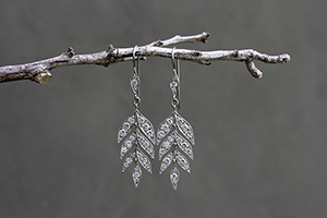 Recycled Platinum Lyrical Wheat Earrings with Ethically Sourced Diamonds, leaf, flex