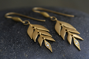 22K Recycled Gold Falling Leaves Earrings with Ethically Sourced Diamonds, leaf, yellow, flex