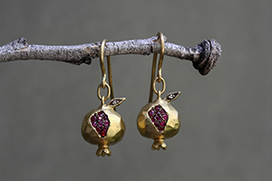 22K Recycled Gold Pomegranate Earrings with Ethically Sourced Rubies and Diamonds, yellow, colored stone, fruit, nature, leaf, leaves, blackened, colored