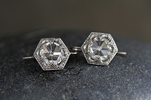 Recycled Platinum Pave Hexagonal Earrings with Ethically Sourced Diamonds, hex, geo