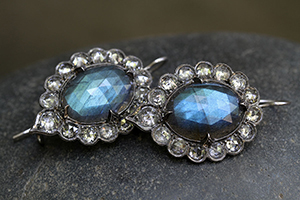 Recycled Platinum Lace Edged Earrings with Ethically Sourced Labradorites, Rose Cut and White Diamonds, colored stone, blackened, rosecut, colored