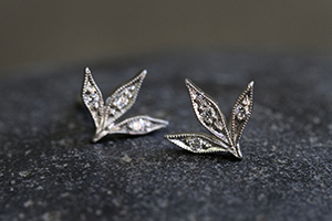 Recycled Platinum 3 Leaf Posts with Ethically Sourced Diamonds, leaves, stud, studs, post