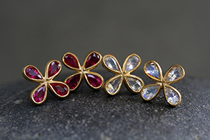 22K Recycled Gold Star Posts with Ethically Sourced Rubies and Moonstones, colored stone, yellow, petal, flower, stud, colored, studs, post