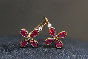 22K Recycled Gold Star Earrings with Ethically Sourced Rubies and Diamonds, ruby, colored stone, yellow