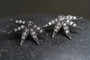 Recycled Platinum Passion Flower Posts with Ethically Sourced Diamonds, petal, stud, studs, post