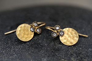 22K Recycled Gold Hammered Oval Earrings with Ethically Sourced Black and White Rose Cut Diamonds, yellow, hex, rosecut