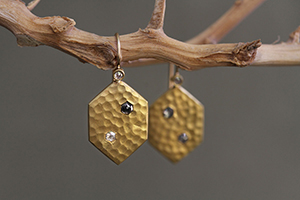 22K Recycled Gold Hammered Shield Earrings with Ethically Sourced Black and White Rose Cut Diamonds, yellow