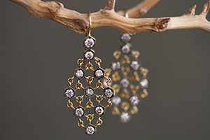 22K Recycled Blackened Gold Mesh Earrings with Ethically Sourced Diamonds, yellow, chain mail, flex, mesh