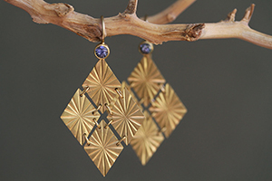22K Recycled Gold Cuatro Estrellas Earrings with Ethically Sourced Icy Blue Sapphires, yellow, colored stone, flex, colored