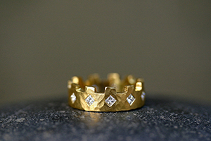 22K Recycled Gold 11 Turret Band with Ethically Sourced Diamonds, yellow, medieval, mens, man, unisex, mans