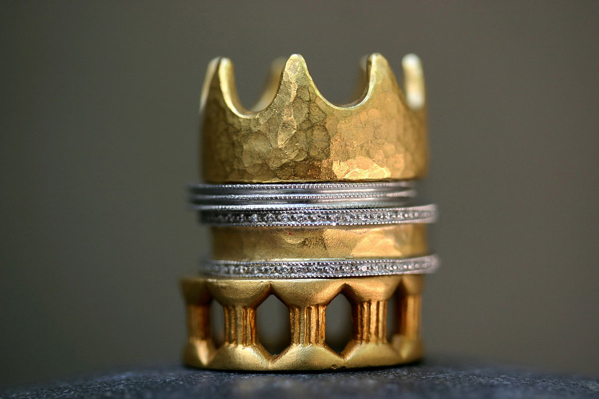 22K Recycled Gold Carolingian Crown Band, Recycled Platinum Triple Milgrain Band, 22K Recycled Gold and Platinum Hammered Band with Pave Edges, 22K Recycled Gold Modern Column Band, mixed metal, LOML, medieval, mens, men, man, unisex, love of my life