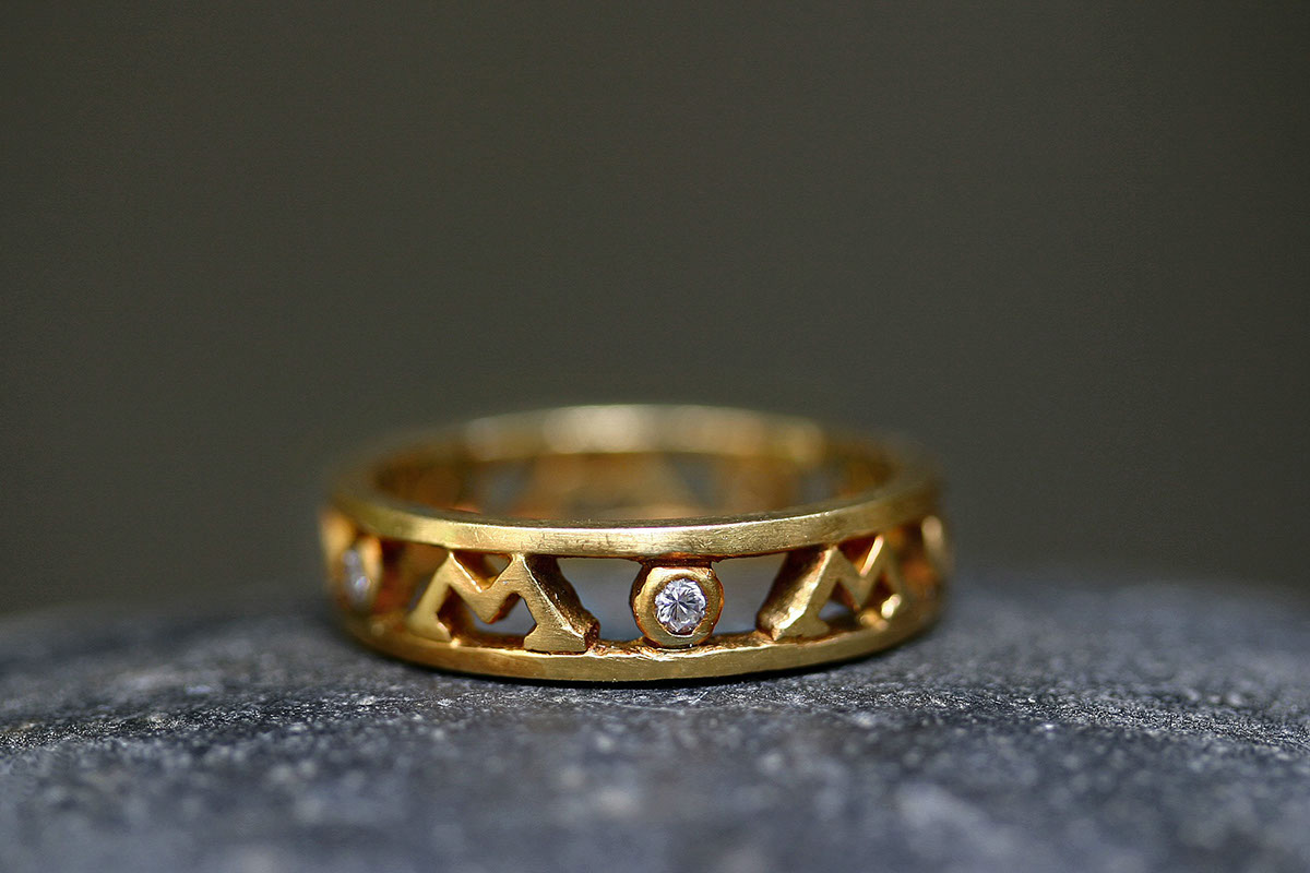 22K Recycled Gold MOM Ring with Ethically Sourced Diamonds, yellow, mother, wow