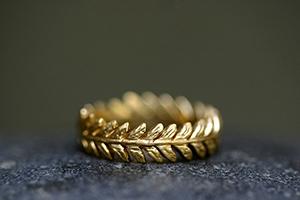 22K Recycled Gold Laurel Leaf Band, yellow, mens, man, unisex, vine, leaves, nature