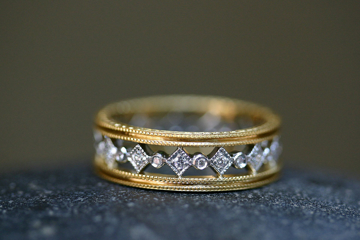 22K Recycled Gold and Platinum Double Milgrain Geometric Band with Ethically Sourced Diamonds, yellow, mixed metal, geo