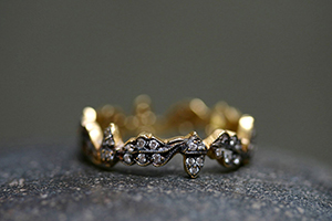22K Recycled Blackened Gold Acorn Band with Ethically Sourced Diamonds, yellow, leaves, leaf