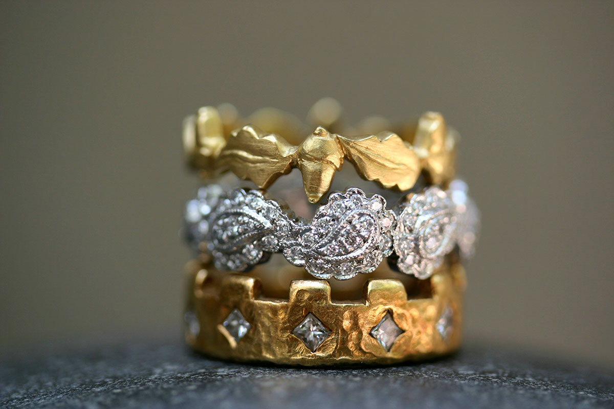 22K Recycled Gold Acorn Band, Recycled Platinum Scalloped Frame Paisley Band with Ethically Sourced Diamonds, 22K Recycled Gold 11 Turret Band with Ethically Sourced Diamonds, mixed metal, yellow, LOML, love of my life, medieval