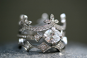 Recycled Platinum Half Ribbon Band with Ethically Sourced Diamonds, Recycled Platinum Antique Prong Ring with Ethically Sourced Diamonds, Recycled Platinum Elongated Geo Band with Ethically Sourced Diamonds, LOML, crown, leaf, leaves, petal, solitaire, wedding, engagement, love of my life, nesting, medieval