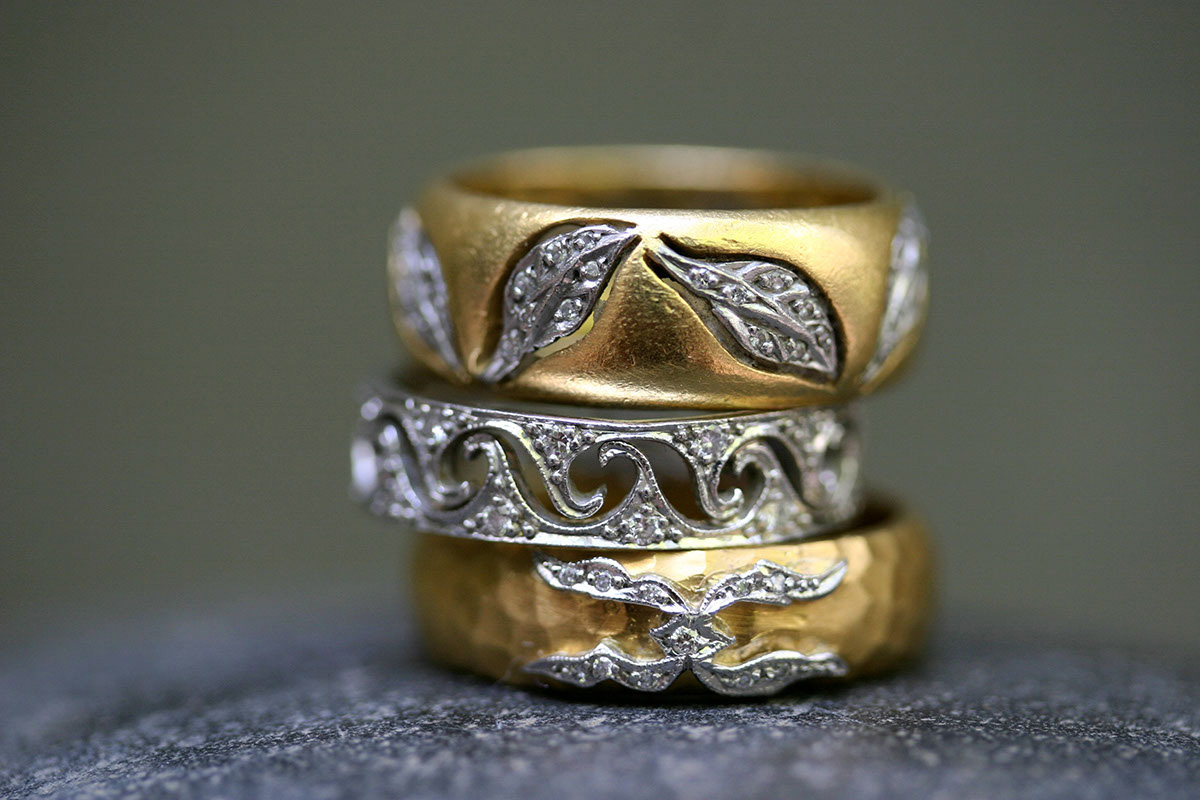 22K Recycled Gold and Platinum Floating Leaves Band with Ethically Sourced Diamonds, Recycled Platinum Wave Band with Ethically Sourced Diamonds, 22k Recycled Gold and Platinum St. Petersburg Ring with Ethically Sourced Diamonds, yellow, mixed metal, LOML, love of my life, unisex, men, mens, man, mans, man's