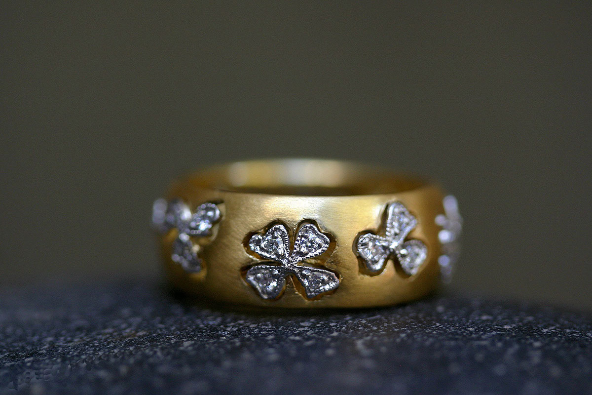 22K Recycled Gold and Platinum Floating Lights Wildflower Band with Ethically Sourced Diamonds, yellow, mixed metal, flower, nature