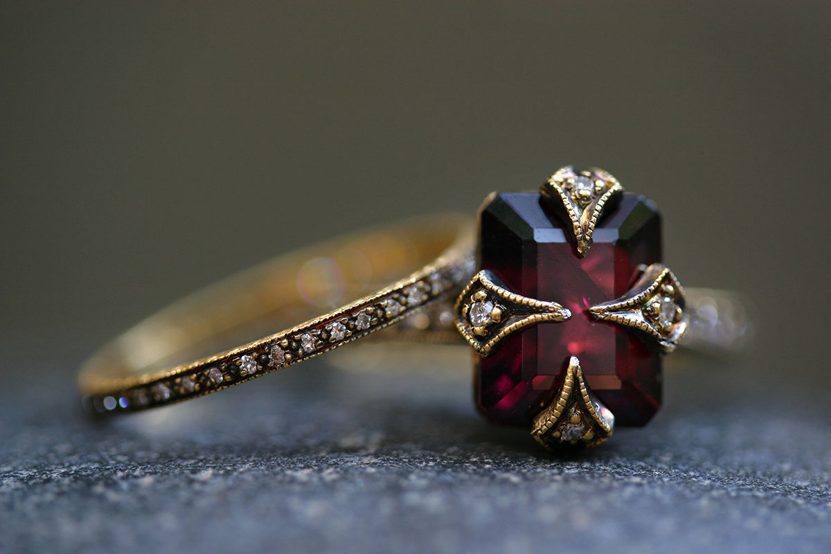 22K Recycled Blackened Gold Thin Band with Ethically Sourced Diamonds, 22K Recycled Blackened Gold Thorn Ring with Ethically Sourced Garnet and Diamonds, LOML, yellow, colored stone, solitaire, wedding, engagement, thin, narrow, nesting, delicate, colored