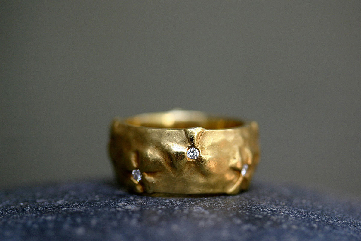 22K Recycled Gold Applique Wildflower Band with Ethically Sourced Diamonds, yellow, flower, mens, man, unisex, men's, cigar