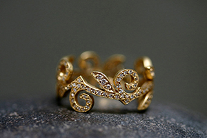 22K Recycled Gold Swirl Thorn Leaf Band with Ethically Sourced Diamonds, yellow, leaves, nature