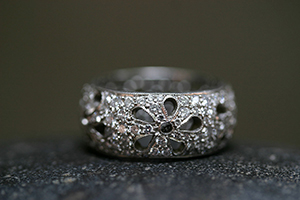 Recycled Platinum Reverso Flower Band with Ethically Sourced Diamonds, cut out, wildflower, petal, nature