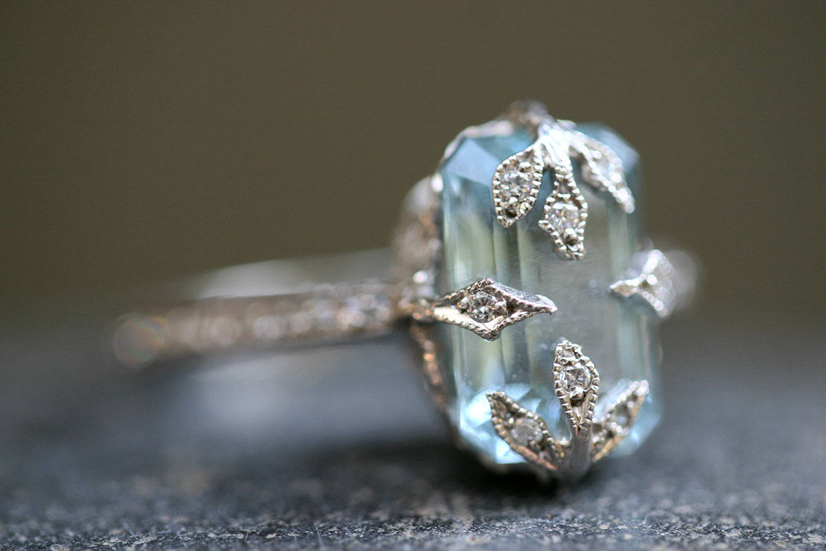 Recycled Platinum Forest Ring with Ethically Sourced Emerald Cut Aqua and Diamonds, colored stone, leaf, leaves, LOML, solitaire, wedding, engagement, love of my life, colored