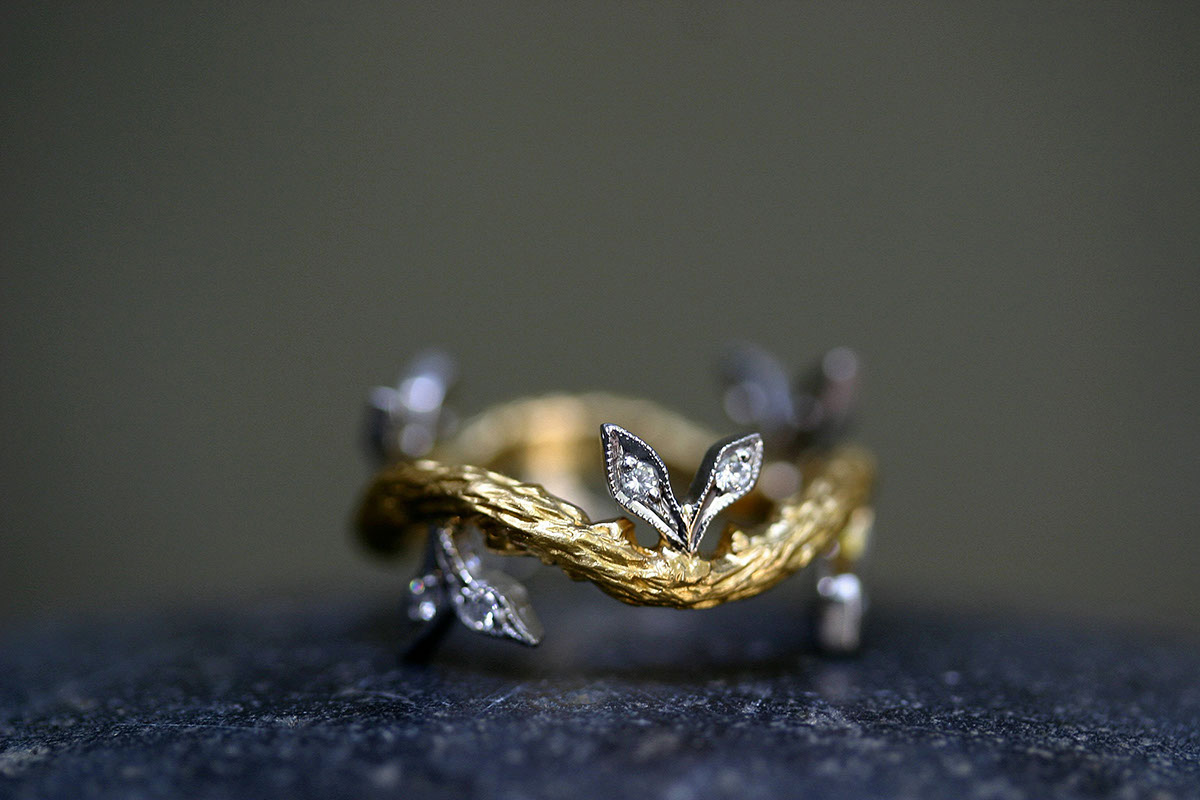 22K Recycled Gold and Platinum Branch with Double Leaves Band with Ethically Sourced Diamonds, yellow, mixed metal, leaf, nature, organic