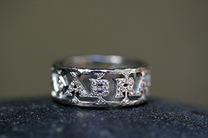 Recycled Platinum ABRACADABRA Band with Ethically Sourced Diamonds, mens, man, unisex, magic, man's, cut out