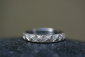 Recycled Platinum Pyramid Band with Ethically Sourced Diamonds, mens, man, unisex, men's, nesting, wedding, engagement