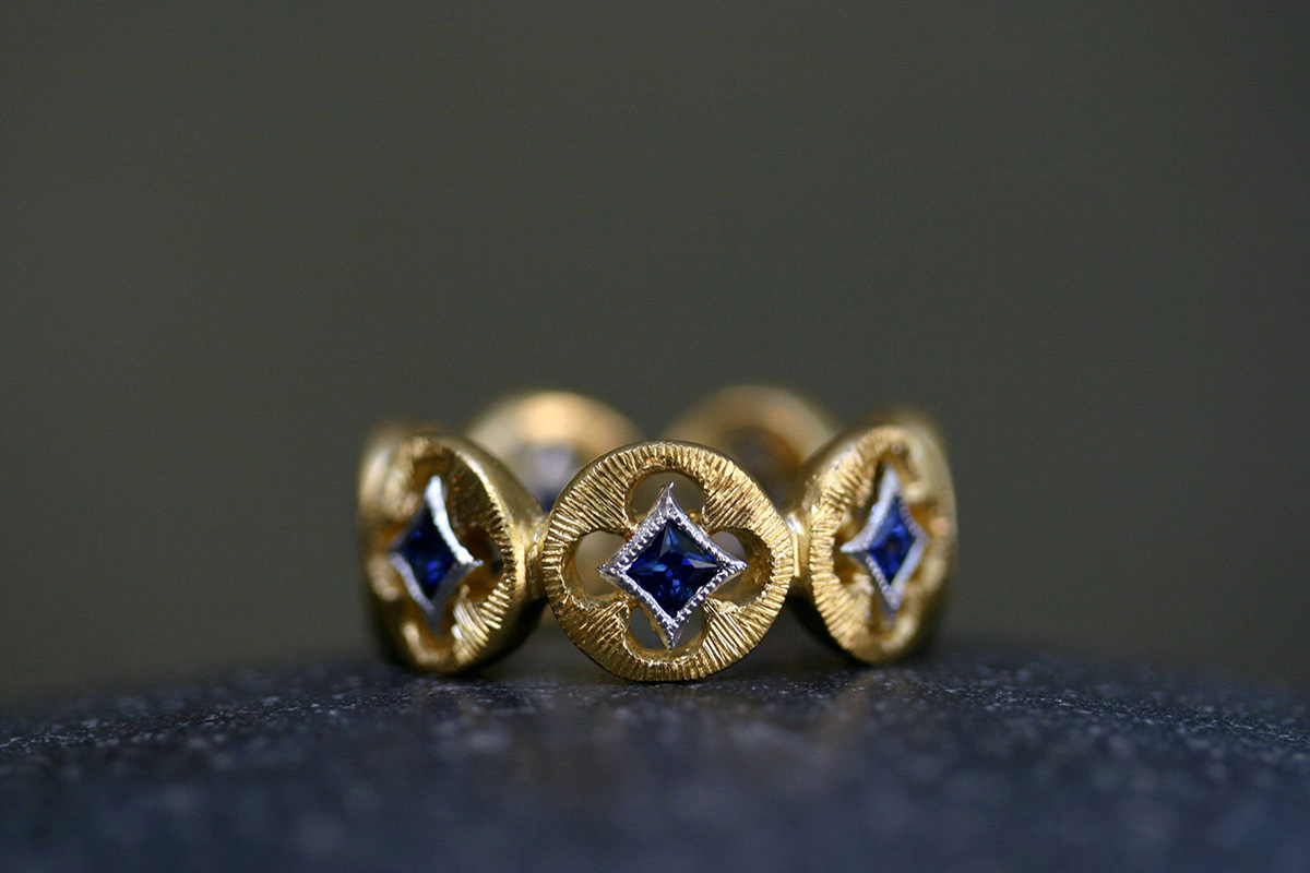 22K Recycled Gold and Platinum Etched Circles Band with Ethically Sourced Blue Sapphires, mixed metal, colored stone