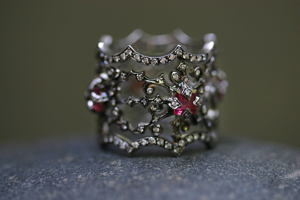 Blackened Recycled Platinum All Around Briarpatch Ring with Ethically Sourced Pink Tourmalines and Diamonds, colored stone, nature, thorn, colored