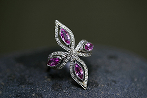 Recycled Platinum Floating Marquis Star Ring with Ethically Sourced Pink Sapphires and Diamonds, colored stone, cut out, colored stone, shield